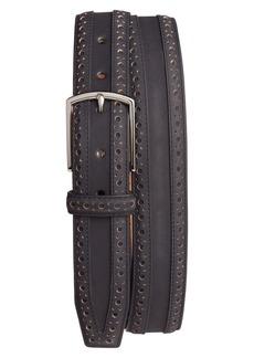 Cole Haan Brogue Nubuck Leather Belt