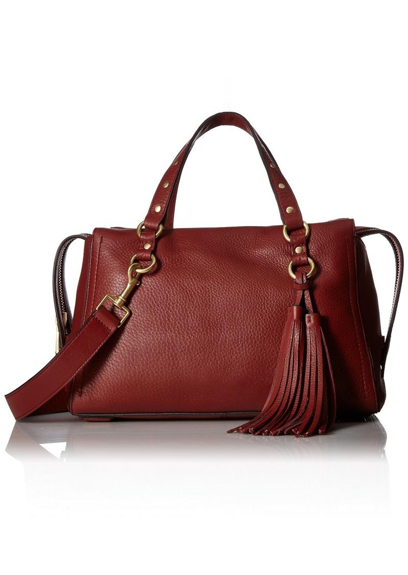 Cole Haan Cassidy Zip Satchel Leather Bag fired brick