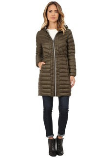 Cole Haan Chevron Quilted Hooded Single Breasted Lightweight Packable Down