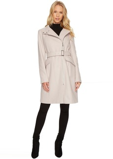 Exposed Zip Front Belted Coat