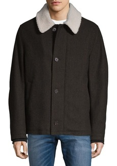 Cole Haan Faux Fur and Tumbled Wool Blend Short Jacket