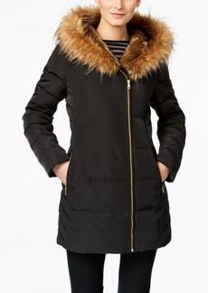 Cole Haan Faux-Fur-Trim Asymmetrical Down Puffer Coat