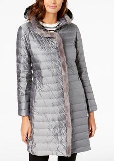 Cole Haan Faux-Fur-Trim Hooded Puffer Coat