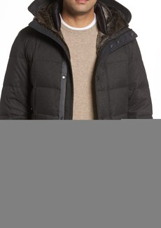 Cole Haan Faux Fur Trim Mixed Media Hooded Down Jacket