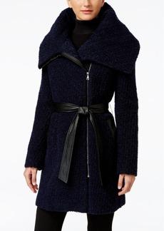 Cole Haan Faux-Leather-Trim Asymmetrical Boucle Coat