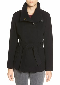 Cole Haan Faux Leather Trim Belted Asymmetrical Coat