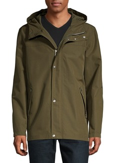 Cole Haan Faux Leather-Trimmed Rain Jacket