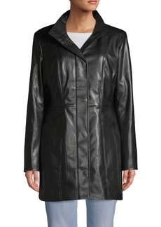 Cole Haan Faux Leather Zip-Up Jacket