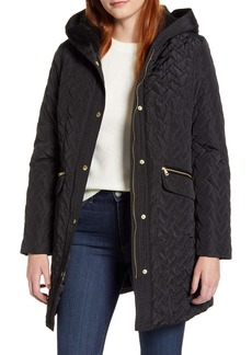 Cole Haan Faux Shearling Lined Water Resistant Quilted Coat