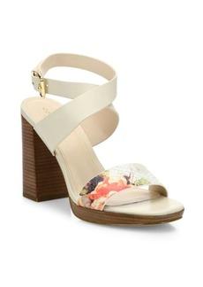 Cole Haan Fenley Leather Ankle-Wrap Block Heel Sandals