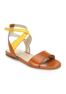 Cole Haan Fenley Two-Tone Leather Ankle-Wrap Sandals