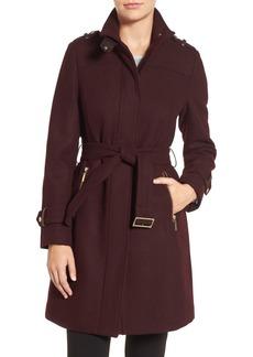 Cole Haan Funnel Neck Wool Blend Coat