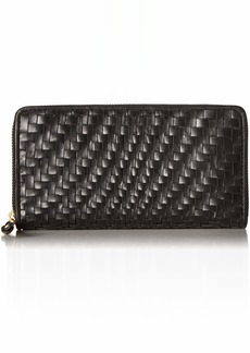 Cole Haan Genevieve Leather Woven Zip Around Continental Wallet black