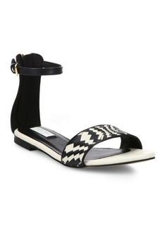 Cole Haan Genevieve Weave Leather Ankle-Strap Sandals