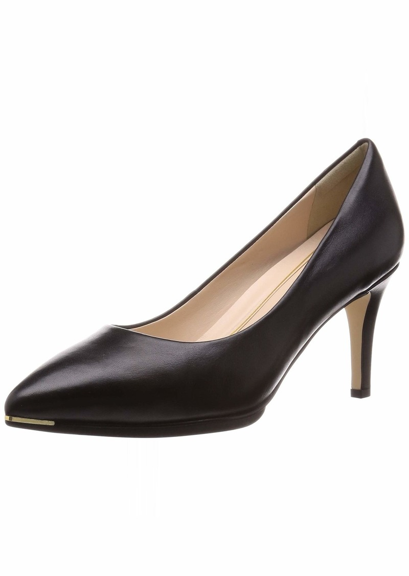 Cole Haan womens Grand Ambition (75mm) Pump Black Leather Tonal Os & Sole Edge Brushed Gold Hw  US