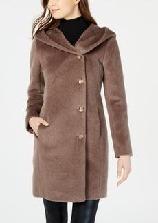 Cole Haan Hooded Asymmetrical Wool-Alpaca Blend Coat