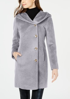 Cole Haan Hooded Asymmetrical Wool-Alpaca Blend Coat