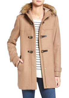 Cole Haan Hooded Duffle Coat with Faux Fur Trim (Regular & Petite)