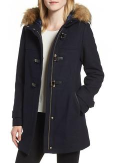 Cole Haan Hooded Duffle Coat with Faux Fur Trim (Regular & Petite)