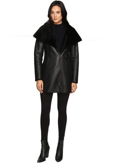 Cole Haan Hooded Shearling Car Coat