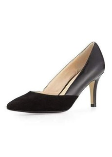 Cole Haan Kyle Suede/Leather Pointed-Toe Pump