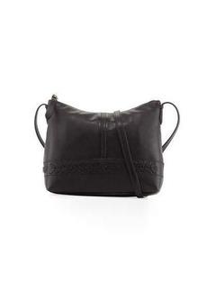 Cole Haan Lacey Herringbone-Woven Trim Leather Crossbody Bag