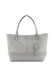 Cole Haan Lacey Herringbone-Woven Trim Leather Tote Bag