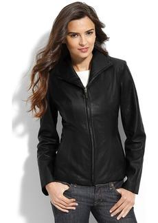 Cole Haan Lambskin Leather Scuba Jacket (Petite)