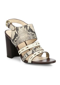 Cole Haan Lavelle Snake-Print Leather Block Heel Slingbacks