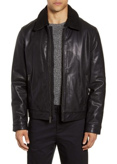 Cole Haan Leather Aviator Jacket