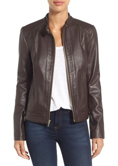 Cole Haan Leather Moto Jacket (Regular & Petite)
