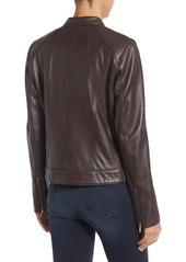 Cole Haan Leather Moto Jacket (Regular & Petite)