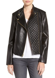 Cole Haan Leather Moto Jacket with Quilted Details
