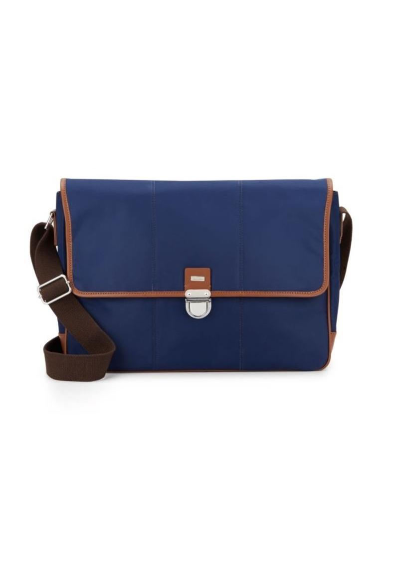 Leather Trimmed Nylon Messenger Bag