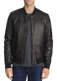 Cole Haan Leather Varsity Bomber Jacket