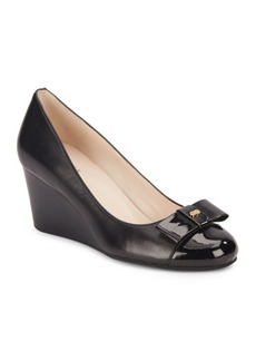 Cole Haan Elsie Leather Bow Wedges