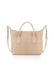 Cole Haan Lena Large Woven Leather Satchel Bag