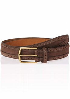 Cole Haan Men's 35mm Nubuck Leather Belt with Perforated Detail java