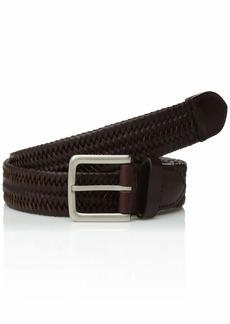 Cole Haan Men's 35mm Woven Leather Belt cordovan/tumbled nickel