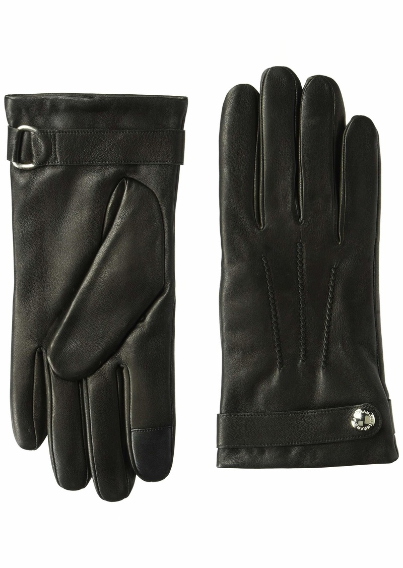 Cole Haan Men's Belted Leather Glove with Center Points black M