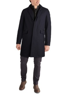 Cole Haan Men's Layered Look Classic-Fit Twill Topcoat with Faux-Leather Trim