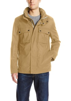 Cole Haan Men's Military Oxford Jacket with Hidden Hood