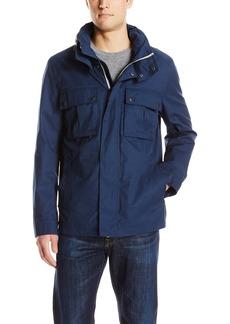 Cole Haan Men's Military Oxford Jacket with Hidden Hood