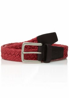 Cole Haan Men's mm Woven Fabric Belt with Leather Tabs