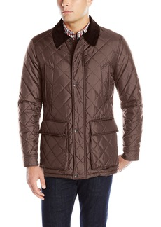 Cole Haan Men's Quilted Nylon Barn Jacket With Corduroy Details wren