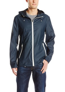 Cole Haan Men's Rubberized Seam Sealed Hooded Rain Jacket