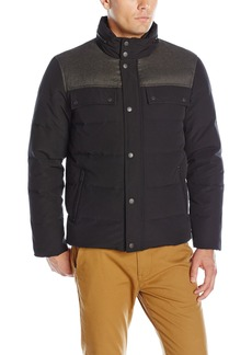 Cole Haan Men's Utility Down Quilted Military Jacket with Contrast Quilted Bib