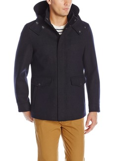 Cole Haan Men's Waterproof Wool Jacket with Removable Hood Faux Shearling Lining