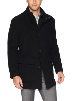 Cole Haan Men's Wool Cashmere Button Front Car Coat with Knit Bib