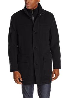 Cole Haan Men's Wool Cashmere Button Front Car Coat with Knit Bib  arge